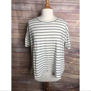 Madewell Black White Stripe Cross Back T Shirt